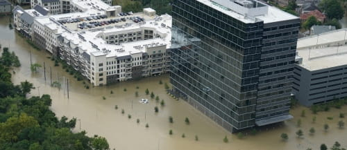 Natural disaster flooded offices