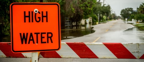 Natural disaster high water sign