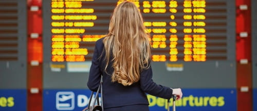 woman at airport departures