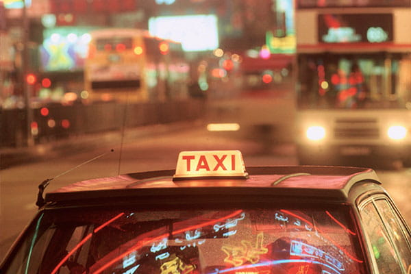 taxi at night in Hong Kong